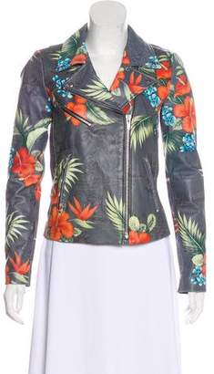 Veda Print Leather Jacket