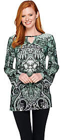 Women with Control Attitudes by Renee Printed Jersey Knit KeyholeTunic