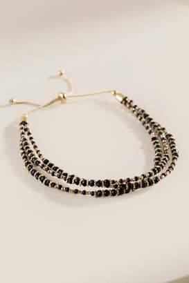 francesca's Mindie Beaded Layer Pull Tie Bracelet - Black