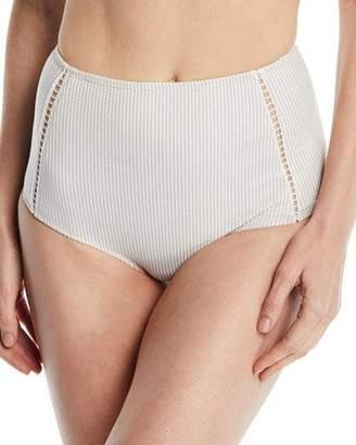 Jonathan Simkhai High-Waist Seersucker Bikini Swim Bikini Bottoms
