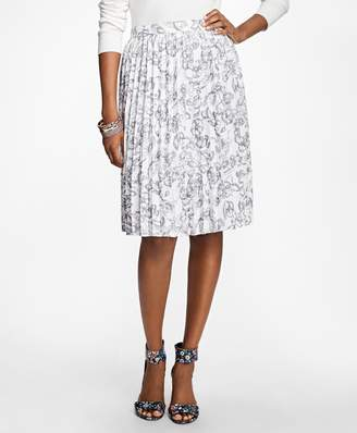 Brooks Brothers Printed Pleated Skirt