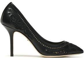 Dolce & Gabbana Broderie Anglaise Leather And Mesh Pumps
