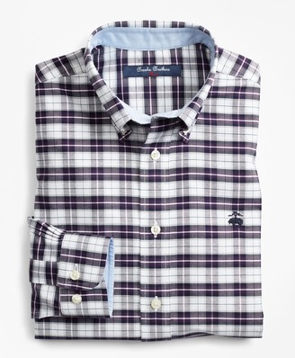 Brooks Brothers Boys Non-Iron Oxford Plaid Sport Shirt