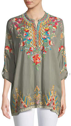 Johnny Was Jessa Embroidered Georgette Tunic, Plus Size
