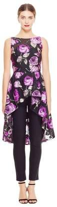 Lela Rose Rose Fil Coupe High Low Peplum Top