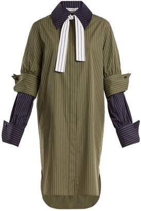 J.W.Anderson Double-cuff pinstriped cotton shirtdress