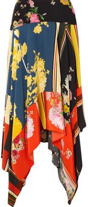 Preen Line Eva Asymmetric Printed Crepe De Chine Midi Skirt - Blue