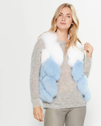 Intuition Paris Leather Trimmed Real Fur Vest