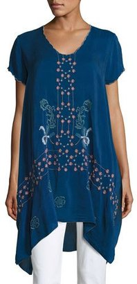 Johnny Was Willamy Embroidered Georgette Blouse $235 thestylecure.com
