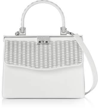 Rodo White Nappa Leather Top Handle Satchel Bag