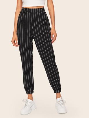 Shein Slant Pocket Vertical Striped Crop Pants