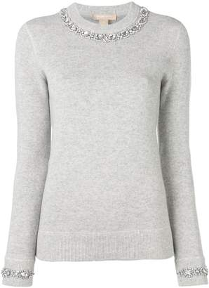 Michael Kors crew neck embellished jumper