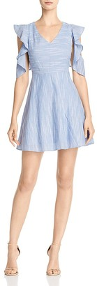 JOA Ruffle-Sleeve Fit & Flare Dress $90 thestylecure.com
