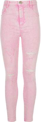 River Island Girls Pink Molly acid wash ripped jeggings