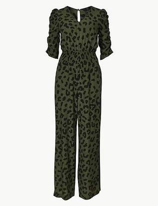 Marks and Spencer Animal Print Short Sleeve Jumpsuit