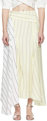 3.1 Phillip Lim Ivory Pinstripe Twisted Skirt