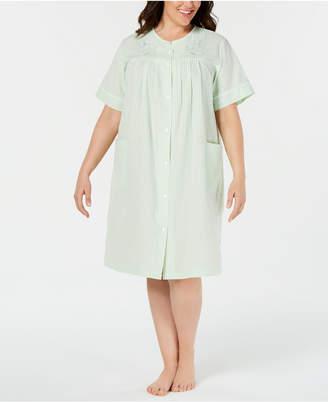 Miss Elaine Plus Size Seersucker Short Gripper Robe