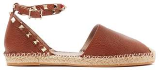 Valentino Rockstud Wraparound Leather Espadrille Flats - Womens - Tan