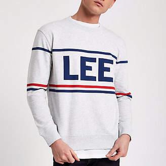 River Island Lee grey marl brand print sweatshirt