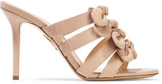 Blyton Bow-embellished Leather Mules - Blush