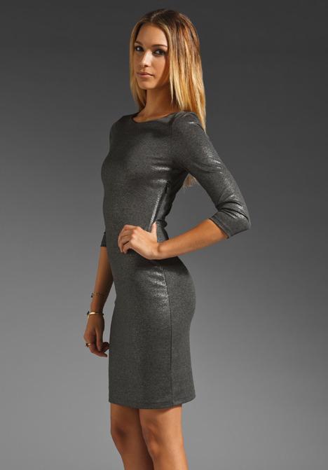 Alice + Olivia Charnelle Open Back Dress in Grey/Silver