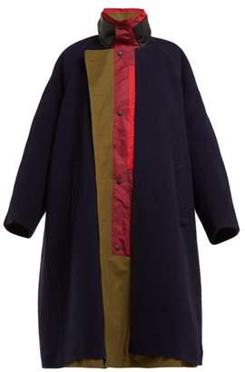 a16d9a816c01 Balenciaga Wool Blend Oversized Coat - Womens - Navy Multi