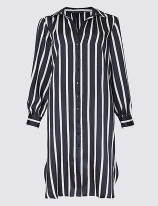 Marks and Spencer Striped Long Sleeve Shirt Midi Dress