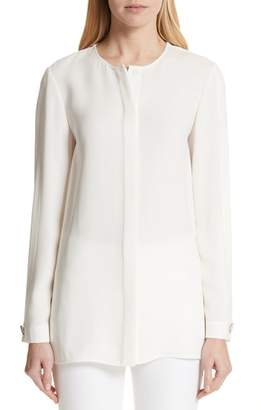 Lafayette 148 New York Rowan Double Silk Georgette Blouse