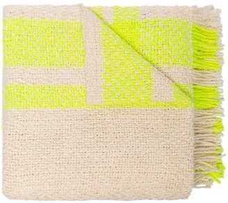 BEIGE Aessai and neon yellow grace merino wool and linen blanket