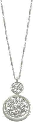 Lucky Brand Silve-tone Orbital Floral Openwork Pendant Necklace