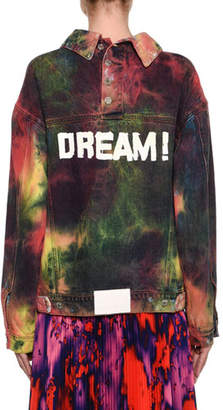 MSGM Oversized Tie-Dye Denim Jacket