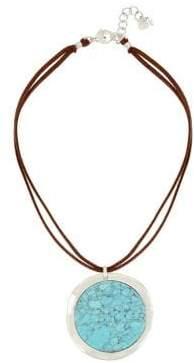 Robert Lee Morris Soho Santa Fe Crystal and Turquoise Pendant Necklace