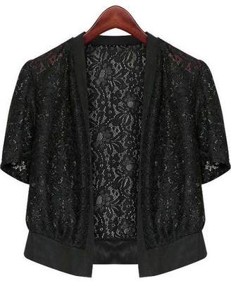 7411a412a7119 at Amazon Canada · Fashion Showcase Women s Plus Size Short Sleeve Lace  Splicing Front Open Bolero Shrug Tops (5XL
