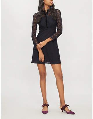Sandro Velvet-trim lace dress
