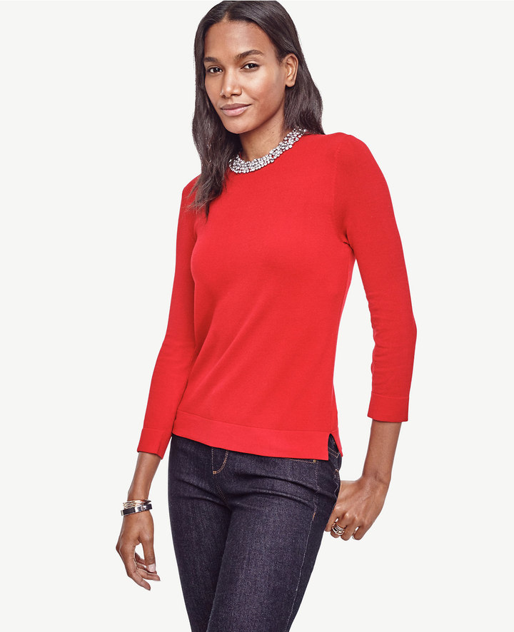 Ann Taylor Petite Crystal Collar Sweater