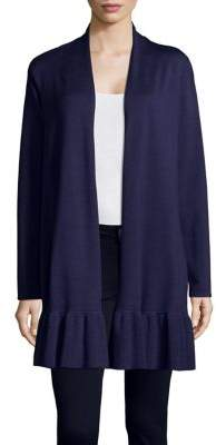 Context Ruffled Open Front Cardigan