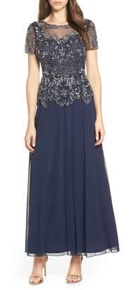 Pisarro Nights Embellished Mesh Bodice Evening Dress
