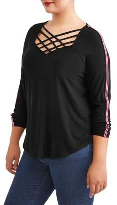 Eye Candy Juniors' Plus Lattice Trimmed Peached Jersey Top