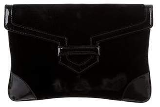 Emporio Armani Leather-Trimmed Velvet Clutch
