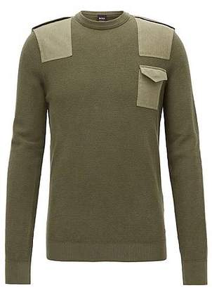 Shop Cheap Price Largest Supplier Cheap Price Crew-neck sweater in pure cotton with colourblock intarsia BOSS YS3SP