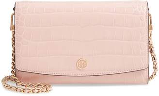 Tory Burch Robinson Croc Embossed Leather Wallet on a Chain