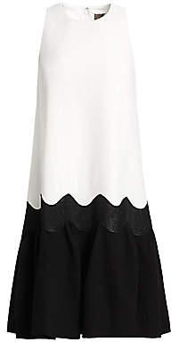 Lela Rose Women's Wool Crepe Wave Flounce Hem Dress