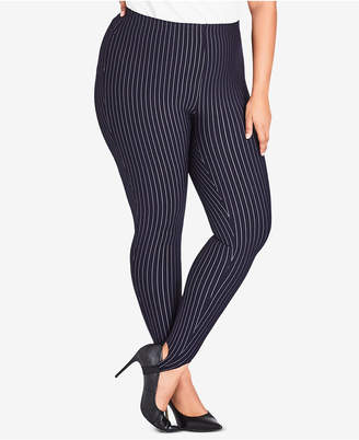 City Chic Plus Size Simply Tailored Striped Pants