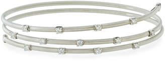 Neiman Marcus Diamonds 14k White Gold Diamond Wire-Wrap Bangle Bracelet, 0.5tcw