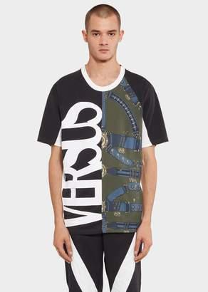 Versace Mixed Logo Print Cotton T-Shirt