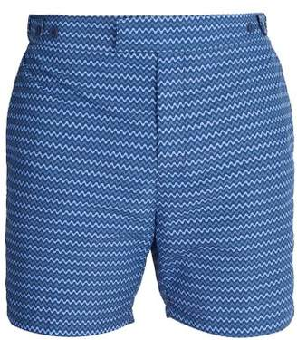 Frescobol Carioca - Tailored Copacabana Print Swim Shorts - Mens - Navy Multi