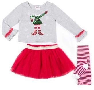 Little Lass Christmas Long Sleeve Top, Tulle Tutu Skirt & Tights, 3pc Outfit Set (Toddler Girls)