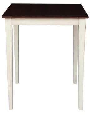 INC International Concepts Solid Wood Counter Height Table with Shaker Legs in Antiqued Almond/Espresso