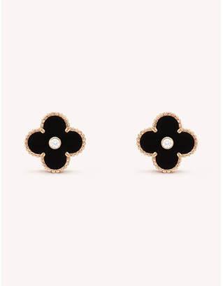 Van Cleef & Arpels Vintage yellow-gold and diamond Alhambra earrings