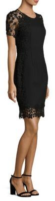 Elie Tahari Yadira Floral Lace-Trimmed Dress $498 thestylecure.com